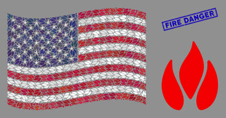 Fire icons are organized into USA flag stylization with blue rectangle grunge stamp watermark of Fire Danger phrase. Vector concept of USA waving official flag is organized of fire elements.