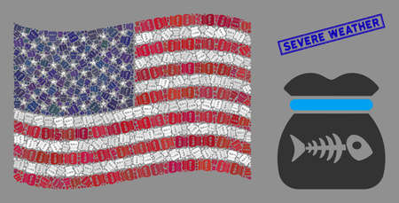Toxic rubbish pictograms are grouped into American flag collage with blue rectangle corroded stamp watermark of Severe Weather text.
