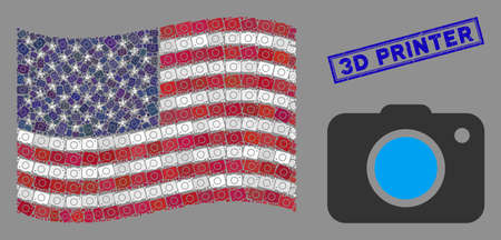 Photo camera items are combined into USA flag collage with blue rectangle rubber stamp watermark of 3D Printer text. Vector collage of American waving official flag is designed of photo camera items.