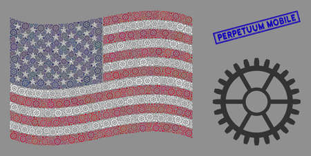 Clock wheel icons are arranged into USA flag mosaic with blue rectangle corroded stamp seal of Perpetuum Mobile phrase. Vector concept of USA waving flag is constructed with clock wheel icons.