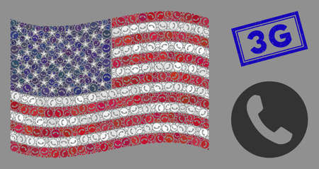 Phone number symbols are organized into USA flag collage with blue rectangle rubber stamp seal of 3G phrase. Vector collage of USA waving flag is formed of phone number items.