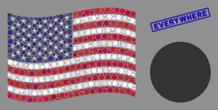 Circle pictograms are organized into USA flag collage with blue rectangle distressed stamp watermark of Everywhere phrase. Vector collage of USA waving official flag is combined with circle items.