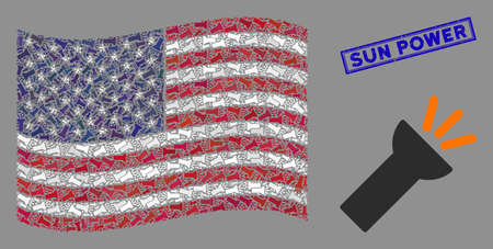 Electric flashlight icons are organized into USA flag stylization with blue rectangle distressed stamp seal of Sun Power phrase.