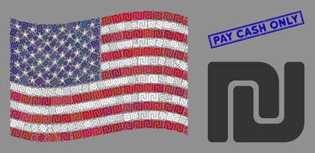Shekel pictograms are combined into United States flag collage with blue rectangle grunge stamp watermark of Pay Cash Only caption. Vector collage of America waving flag is designed with shekel items.