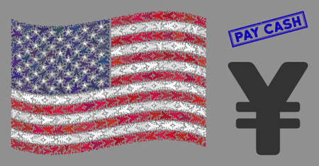 Yen symbols are combined into American flag collage with blue rectangle corroded stamp seal of Pay Cash phrase. Vector collage of American waving state flag is designed of yen items.