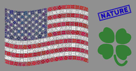 Four-leafed clover items are arranged into USA flag stylization with blue rectangle rubber stamp watermark of Nature phrase.