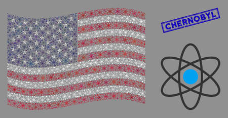 Atom items are grouped into USA flag collage with blue rectangle distressed stamp seal of Chernobyl phrase. Vector concept of USA waving official flag is designed of atom items. Vecteurs