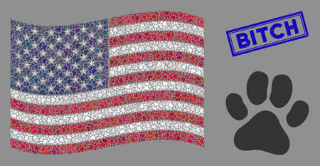 Paw footprint items are arranged into American flag collage with blue rectangle rubber stamp seal of Bitch text. Vector collage of American waving flag is made with paw footprint icons. Ilustración de vector