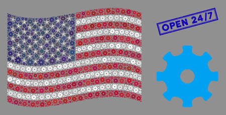 Gear items are combined into USA flag collage with blue rectangle grunge stamp watermark of Open 247 phrase. Vector concept of USA waving state flag is combined from gear elements.