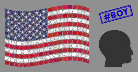 Bald head pictograms are combined into American flag collage with blue rectangle corroded stamp watermark of #Boy text. Vector composition of America waving flag is combined of bald head icons.