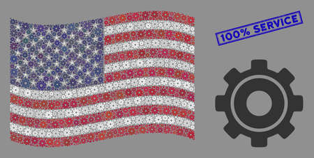 Cog icons are arranged into United States flag collage with blue rectangle corroded stamp seal of 100% Service phrase. Vector collage of American waving flag is organized with cog elements.