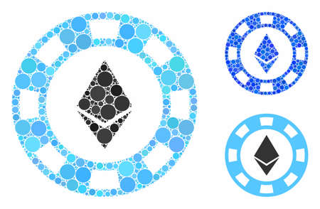 Ethereum casino chip mosaic of circle elements in different sizes and color tints, based on Ethereum casino chip icon. Vector circle elements are grouped into blue mosaic. Vettoriali