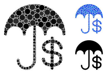 Insurance composition of round dots in different sizes and color tinges, based on insurance icon. Vector round dots are united into blue illustration. Dotted insurance icon in usual and blue versions. Иллюстрация