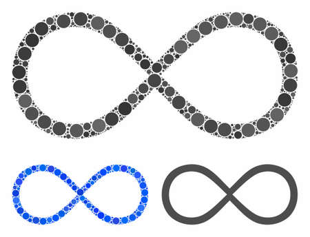 Infinity composition of filled circles in different sizes and shades, based on infinity icon. Vector filled circles are combined into blue illustration.