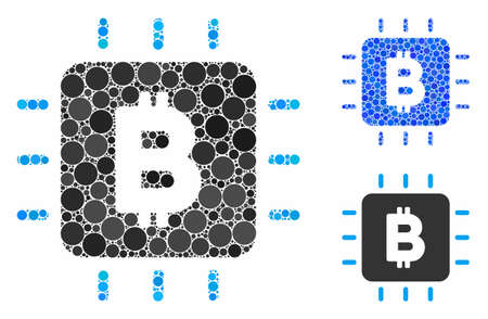 Bitcoin chip mosaic of circle elements in various sizes and color tints, based on Bitcoin chip icon. Vector circle elements are united into blue collage.