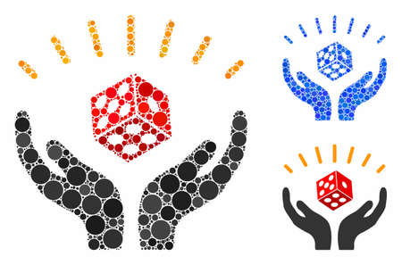 Dice win hands mosaic of spheric dots in different sizes and color hues, based on dice win hands icon. Vector round dots are organized into blue illustration. Illusztráció