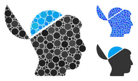 Open brain composition of spheric dots in various sizes and color tones, based on open brain icon. Vector dots are united into blue composition. Dotted open brain icon in usual and blue versions.