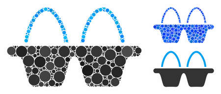 Egg pack mosaic of small circles in various sizes and color hues, based on egg pack icon. Vector filled circles are organized into blue mosaic. Dotted egg pack icon in usual and blue versions.
