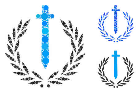 Sword honor embleme mosaic of filled circles in different sizes and color tones, based on sword honor embleme icon. Vector filled circles are grouped into blue collage.