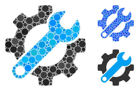 Gear and wrench options composition of round dots in different sizes and color tints, based on gear and wrench options icon. Vector round elements are composed into blue composition.