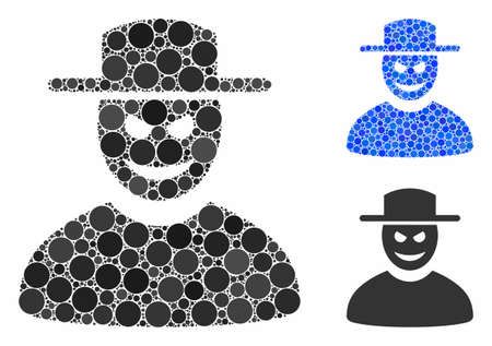 Malevolent gentleman mosaic of round dots in various sizes and shades, based on malevolent gentleman icon. Vector round dots are combined into blue composition.