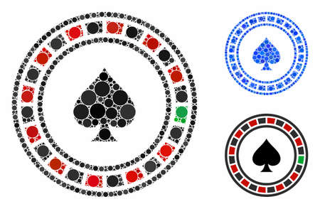 Casino roulette composition of small circles in variable sizes and color tints, based on casino roulette icon. Vector filled circles are grouped into blue illustration. Illusztráció