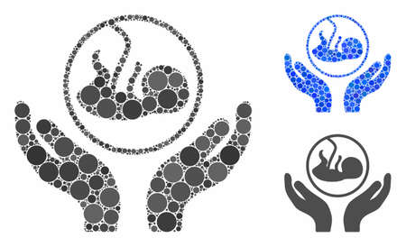 Embryo care hands composition of small circles in different sizes and color tints, based on embryo care hands icon. Vector filled circles are united into blue illustration.