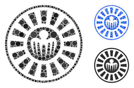 Spectre casino roulette mosaic of circle elements in different sizes and color tints, based on spectre casino roulette icon. Vector circle elements are composed into blue collage. Иллюстрация