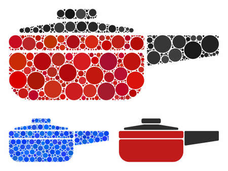 Dripping pan composition of small circles in various sizes and shades, based on dripping pan icon. Vector small circles are united into blue composition. Illustration