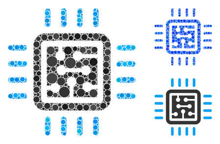 CPU circuit composition of round dots in variable sizes and color tinges, based on CPU circuit icon. Vector round elements are composed into blue composition. Illusztráció