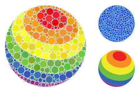 LGBT color stripes sphere mosaic of circle elements in various sizes and color tinges, based on LGBT color stripes sphere icon. Vector circle elements are combined into blue collage. Ilustração