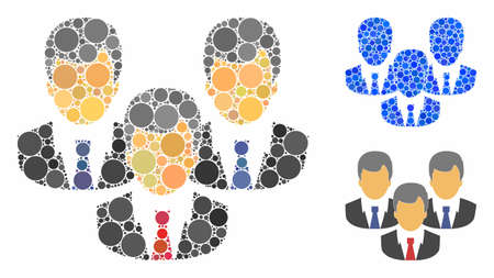 Customers mosaic of circle elements in variable sizes and color tinges, based on customers icon. Vector circle elements are grouped into blue mosaic. Dotted customers icon in usual and blue versions.