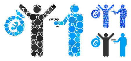 Euro robbery composition of filled circles in variable sizes and color tints, based on Euro robbery icon. Vector round elements are united into blue composition. Illustration