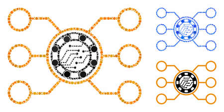 Casino chip circuit composition of circle elements in different sizes and color tinges, based on casino chip circuit icon. Vector circle elements are combined into blue composition.