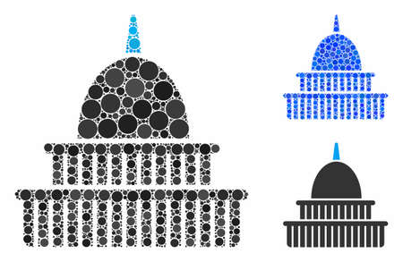 Government building mosaic of filled circles in variable sizes and color hues, based on government building icon. Vector filled circles are united into blue mosaic.