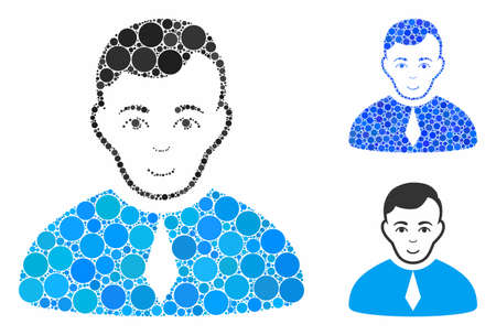 Lawyer composition of circle elements in different sizes and color tinges, based on lawyer icon. Vector circle elements are composed into blue illustration. 矢量图像