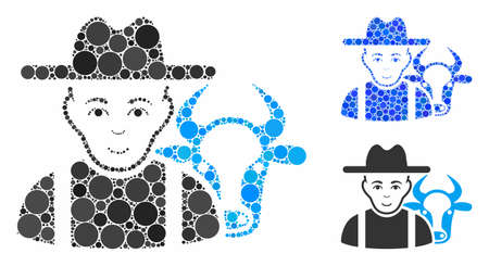 Cattle farmer composition of filled circles in variable sizes and color hues, based on cattle farmer icon. Vector filled circles are united into blue mosaic.