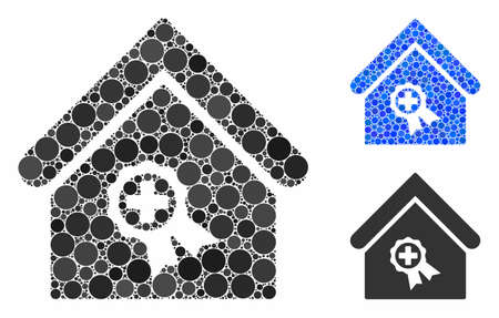 Certified clinic building composition of round dots in variable sizes and color hues, based on certified clinic building icon. Vector round dots are combined into blue collage.
