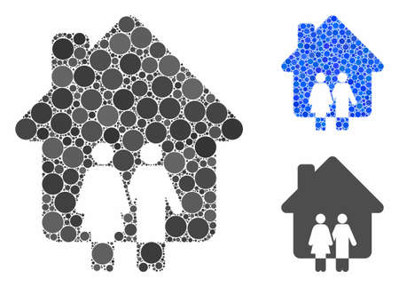 Family house composition of circle elements in various sizes and color tints, based on family house icon. Vector circle elements are organized into blue mosaic.