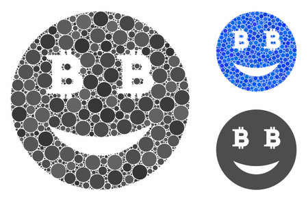 Glad Bitcoin smiley mosaic of small circles in different sizes and color tints, based on glad Bitcoin smiley icon. Vector small circles are united into blue mosaic.