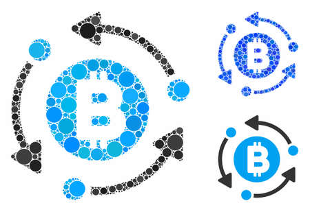 Bitcoin rotation arrows mosaic of filled circles in different sizes and color hues, based on Bitcoin rotation arrows icon. Vector filled circles are united into blue mosaic.