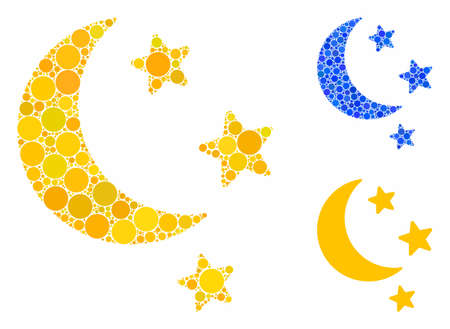 Moon stars mosaic of small circles in variable sizes and color tones, based on moon stars icon. Vector small circles are organized into blue illustration.