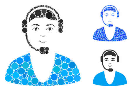 Call center guy mosaic of round dots in different sizes and color tones, based on call center guy icon. Vector round dots are grouped into blue composition.