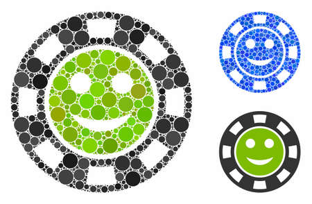 Glad casino chip mosaic of small circles in various sizes and shades, based on glad casino chip icon. Vector small circles are organized into blue composition.