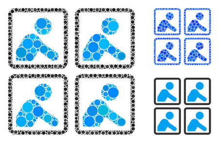 Workers composition of circle elements in variable sizes and color hues, based on workers icon. Vector circle elements are composed into blue mosaic. Dotted workers icon in usual and blue versions.