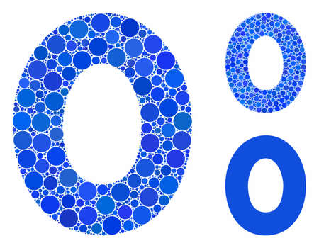 0 digit composition of circle elements in various sizes and color tinges, based on 0 digit icon. Vector circle elements are united into blue mosaic. Dotted 0 digit icon in usual and blue versions. Stock Illustratie