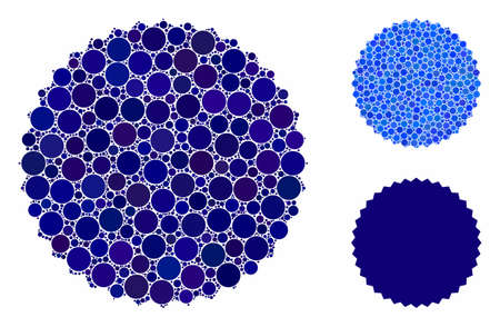 Filled rosette seal mosaic of small circles in various sizes and color tinges, based on filled rosette seal icon. Vector small circles are united into blue composition.