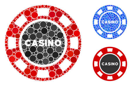 Casino chip composition of small circles in different sizes and color hues, based on casino chip icon. Vector small circles are organized into blue composition.