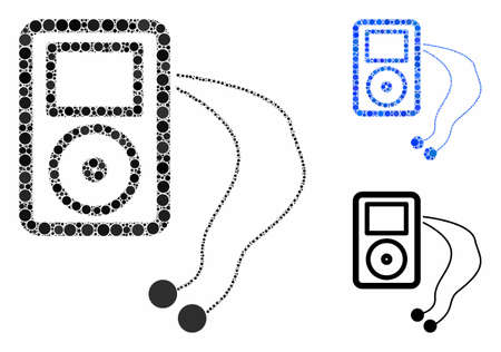 Mobile media player mosaic of small circles in various sizes and color tones, based on mobile media player icon. Vector small circles are composed into blue mosaic.