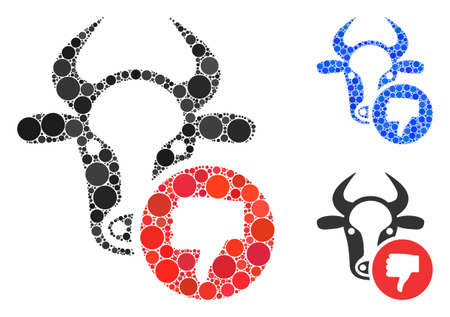 Cow thumb down composition of spheric dots in various sizes and color hues, based on cow thumb down icon. Vector round dots are combined into blue collage. 向量圖像
